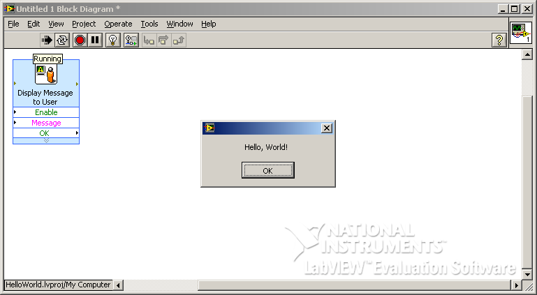 Hello, World! на G/LabVIEW